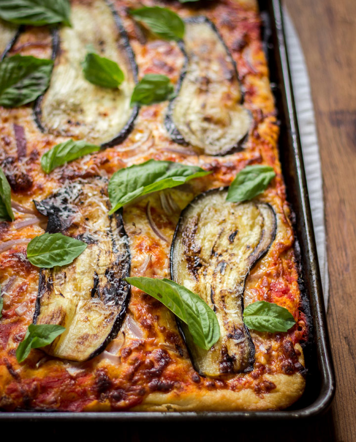 Sicilian Pizza with Eggplant from Nosh On.It on foodiecrush.com