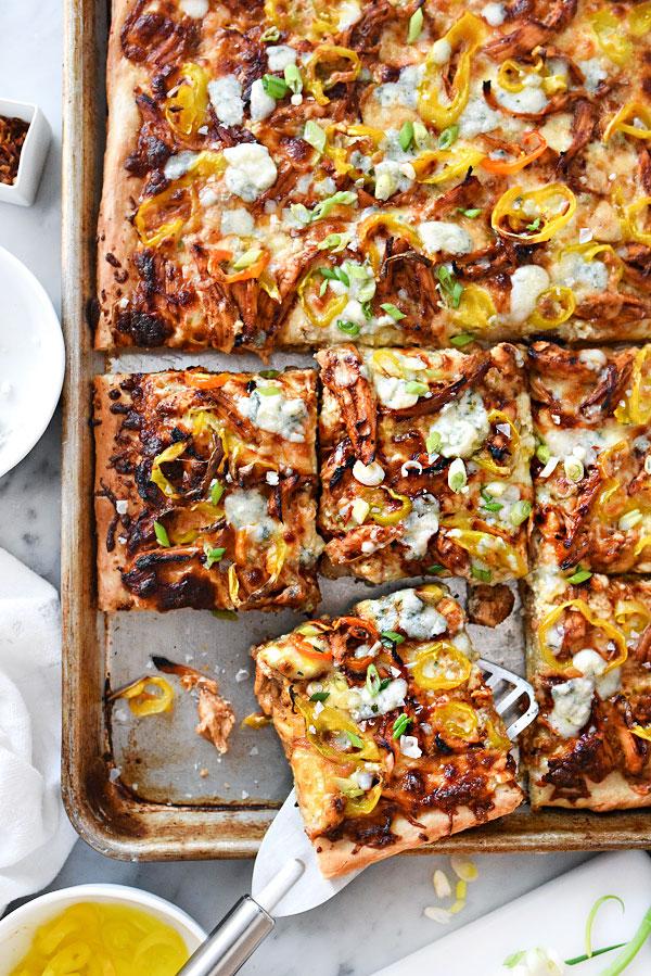 BBQ Blue Chicken Pizza | foodiecrush.com #easy #recipe #homemade
