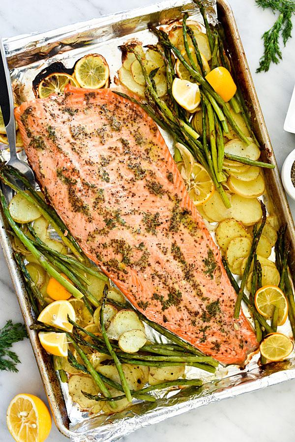 Sheet Pan Mustard Salmon Dinner Foodiecrush Com