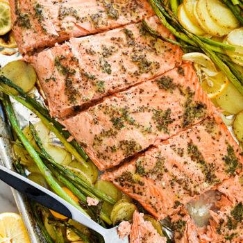 Mustard Salmon Sheet-Pan DInner | foodiecrush.com