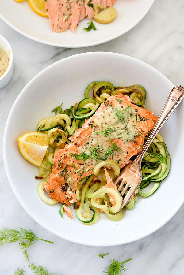 Mustard Salmon Zucchini Noodles | foodiecrush.com