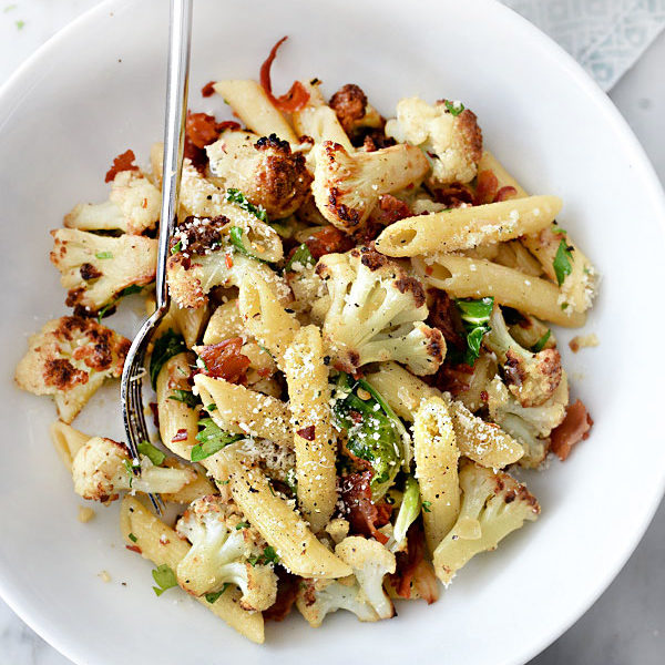 Penne Pasta With Cauliflower and Pancetta | foodiecrush.com