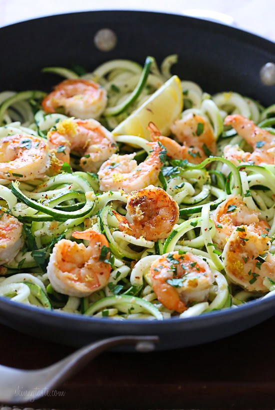Shrimp Scampi Zoodles for Two from skinnytaste.com on foodiecrush.com