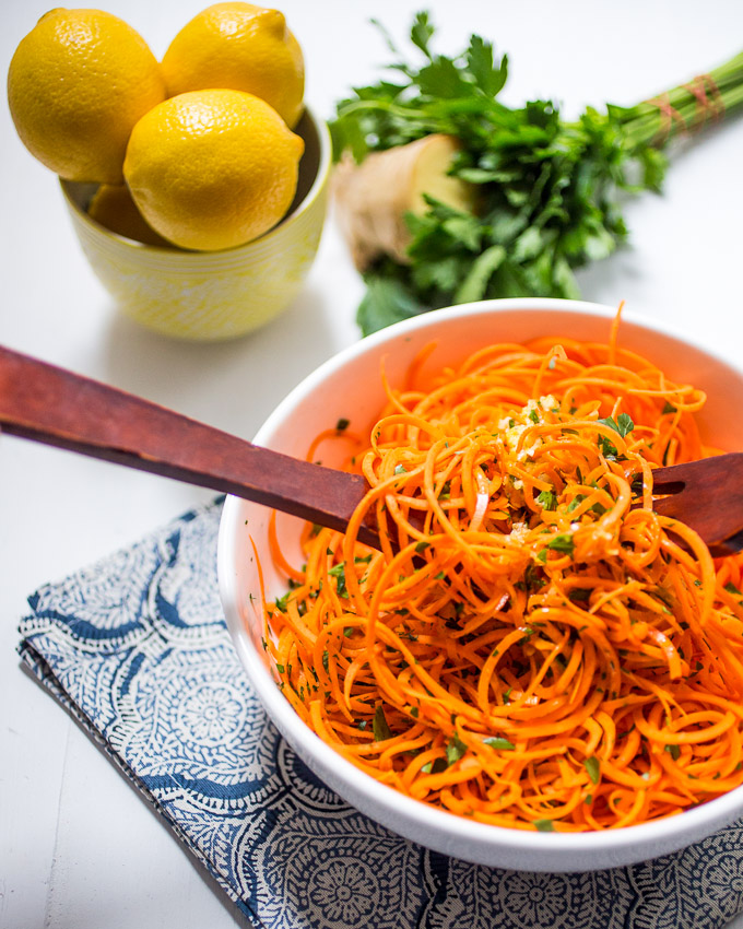 Spiralized Carrot Salad with Lemon Ginger Dressing from girlinthelittleredkitchen.com on foodiecrush.com
