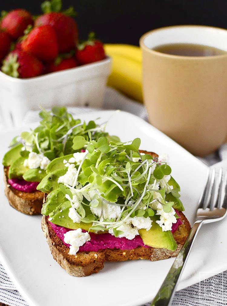 Avocado and Short Cut Beet Hummus from Iowa Girl Eats on foodiecrush.com