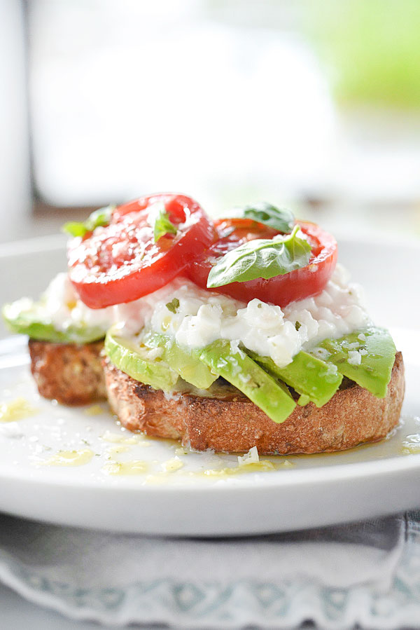 Caprese Avocado Toast | foodiecrush.com #breakfast #recipe #healthy #simple #lunch