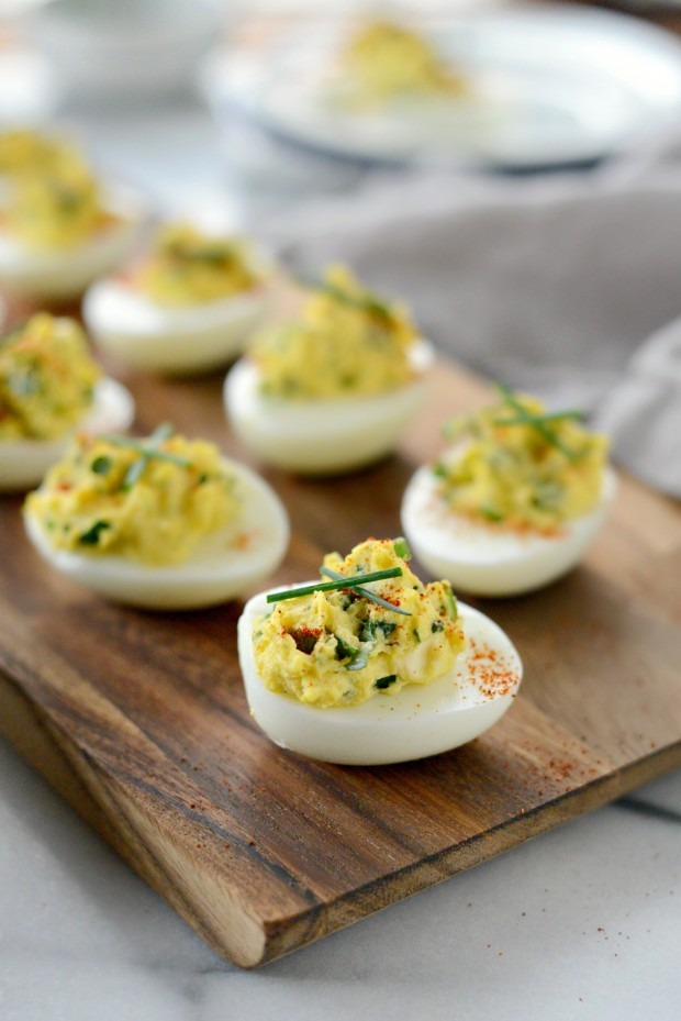 Herb and Goat Cheese Deviled Eggs from Simply Scratch on foodiecrush.com