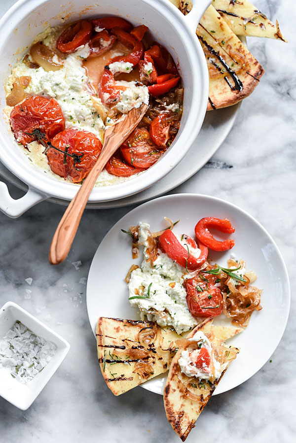 Rosemary Flatbread with Baked Goat Cheese | foodiecrush.com