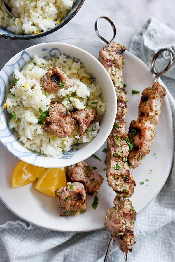 Pork Souvlaki with Lemon Rice | foodiecrush.com #marinade #Greek #recipe #homemade #meal #dinner #kabobs