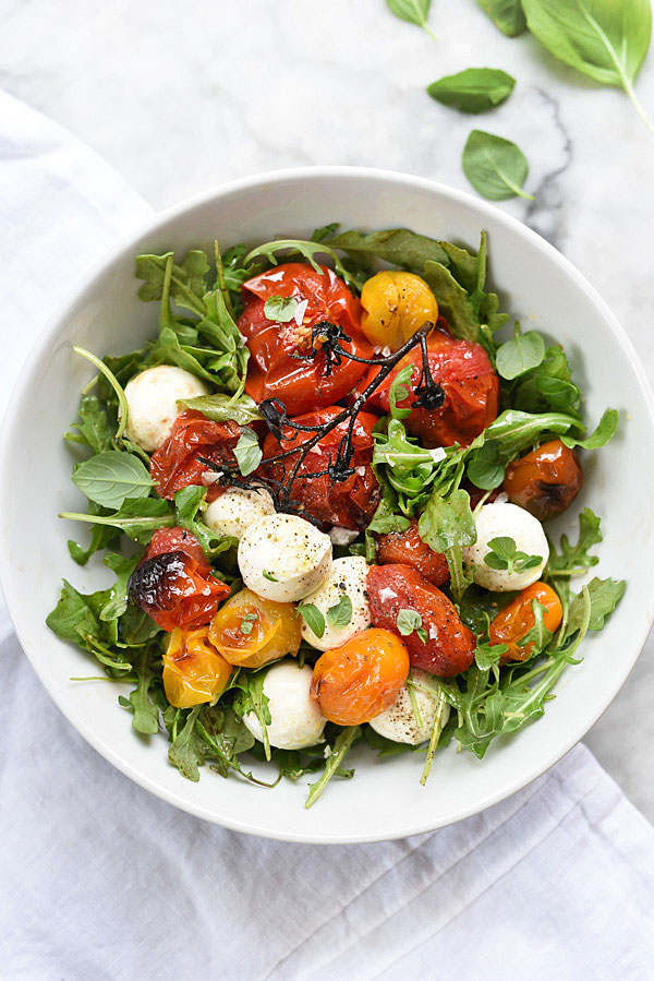 Roasted Tomato Caprese Salad | foodiecrush.com #easy #recipe #arugula #dressing #salad
