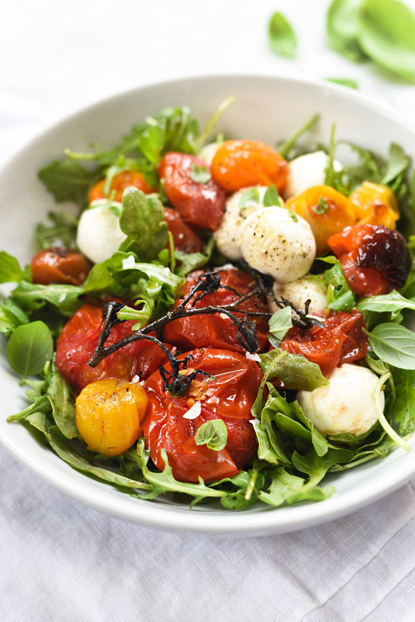 Roasted Tomato Caprese Salad | foodiecrush.com