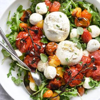 Roasted Tomato Caprese Salad | foodiecrush.com
