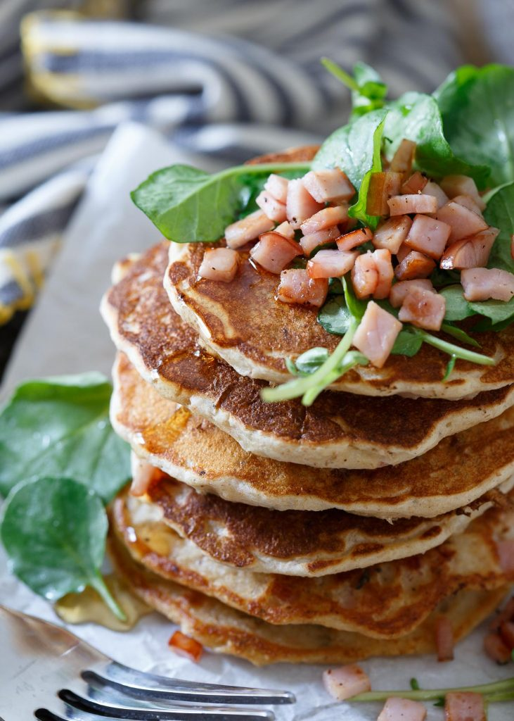 Savory Canadian Bacon Pancakes from Running to the Kitchen on foodiecrush.com