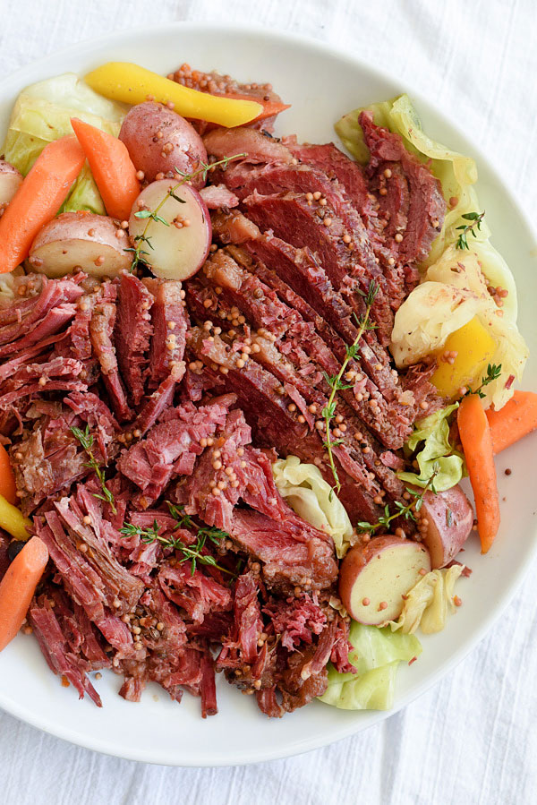 Slow Cooker + Instant Pot Corned Beef and Cabbage | foodiecrush.com #crockpot #recipe #slowcooker #easy #instantpot