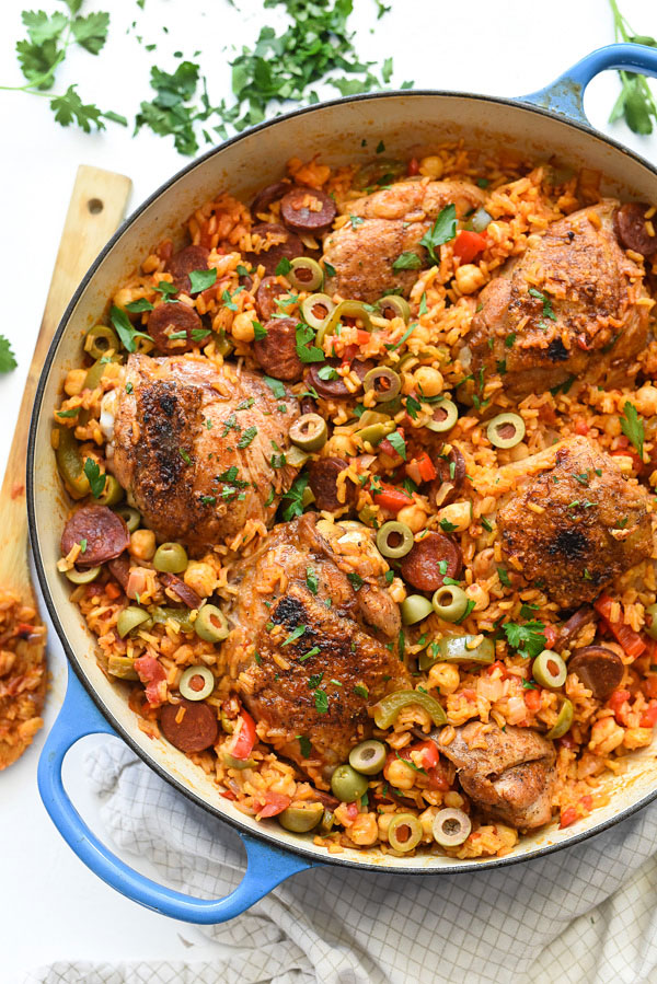 Spanish Chicken and Rice | foodiecrush.com #ArrozConPollo #easy #recipes #onepot