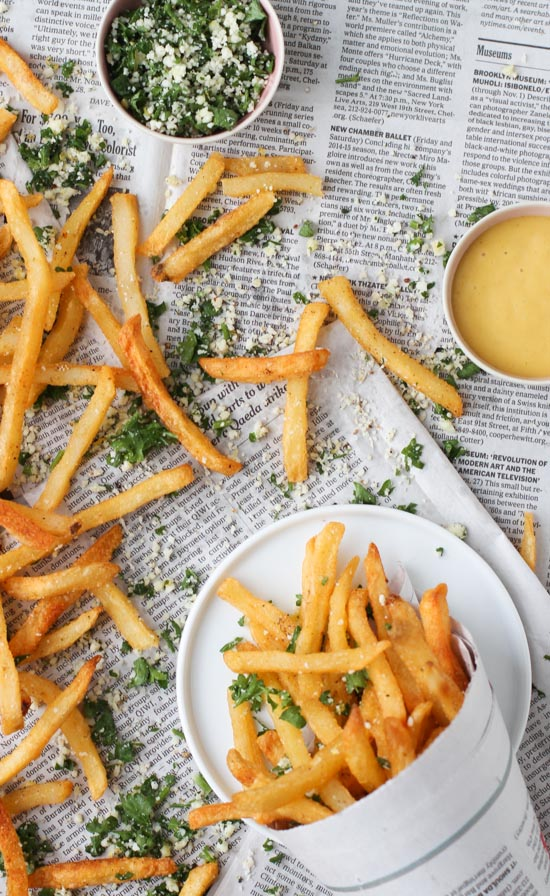 Lemon and Herb French Fries from Paper and Stitch on foodiecrush.com