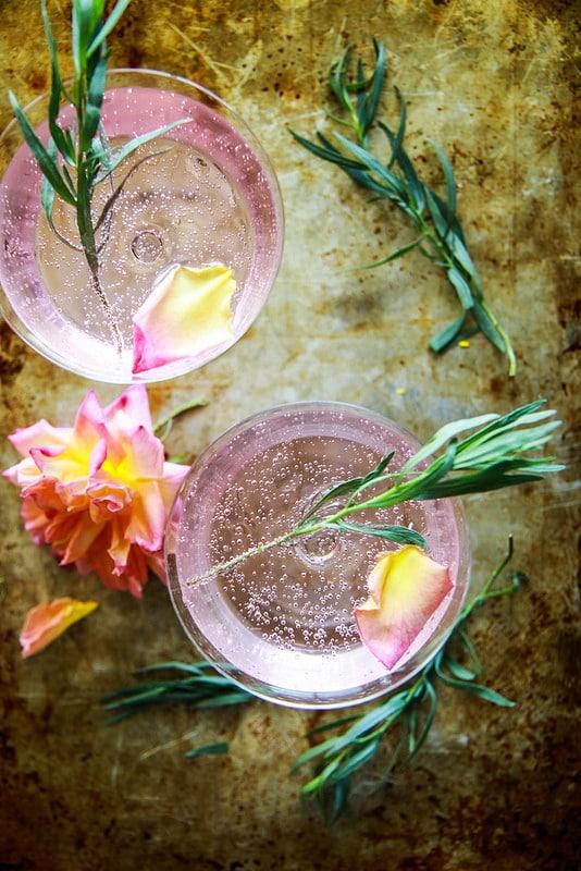 Rose and Tarragon Gin Lemonade from Heather Christo Cooks | foodiecrush.com
