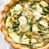 Spinach Artichoke and Goat Cheese Quiche is a simple and savory quiche with an Almondmilk and egg custard base | foodiecrush.com