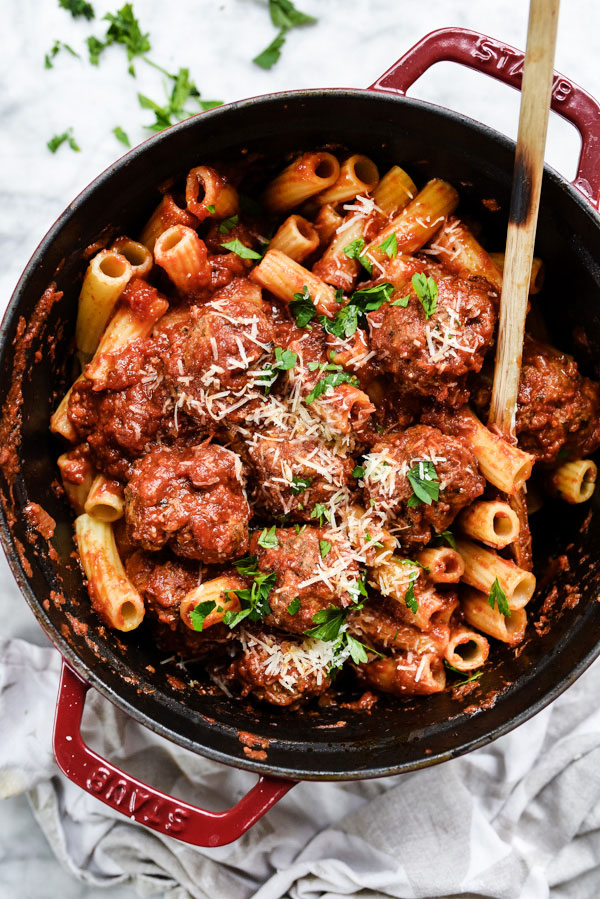 Italian Meatballs in Sauce | foodiecrush.com #easy #Italian #homemade