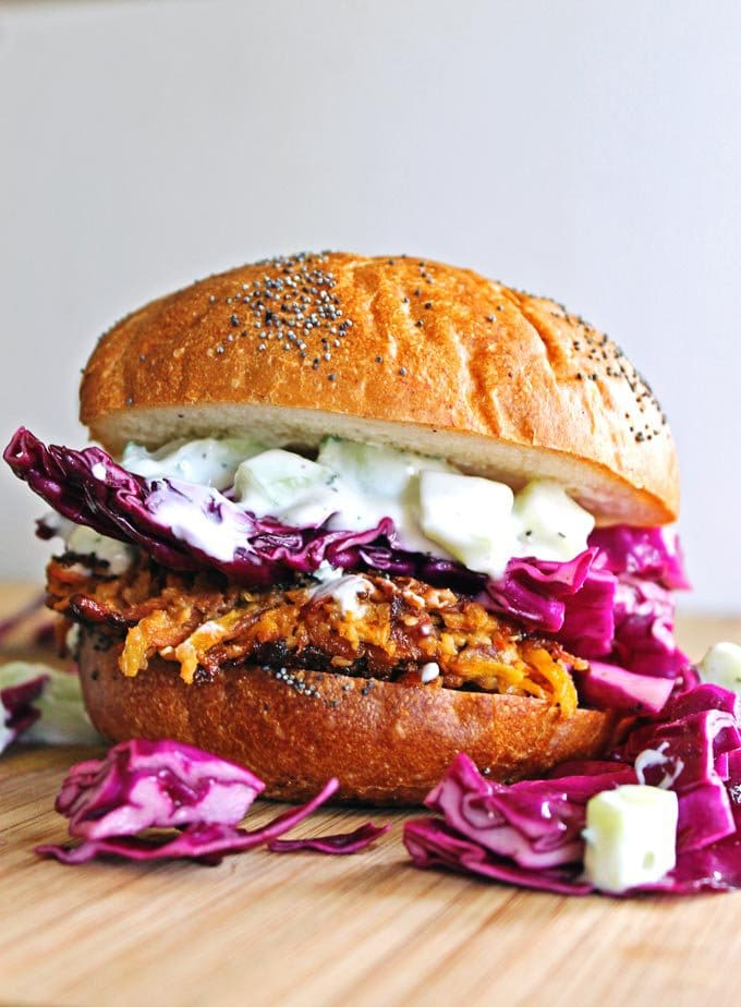 Carrot Tahini Quinoa Burgers with Tzatziki from rhubarbarians.com on foodiecrush.com