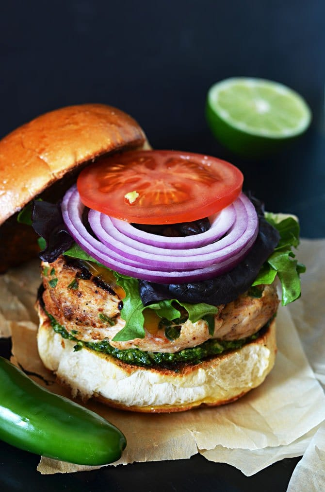 Mexican Turkey Burgers with Cilantro-Lime Pesto from hostthetoast.com on foodiecrush.com