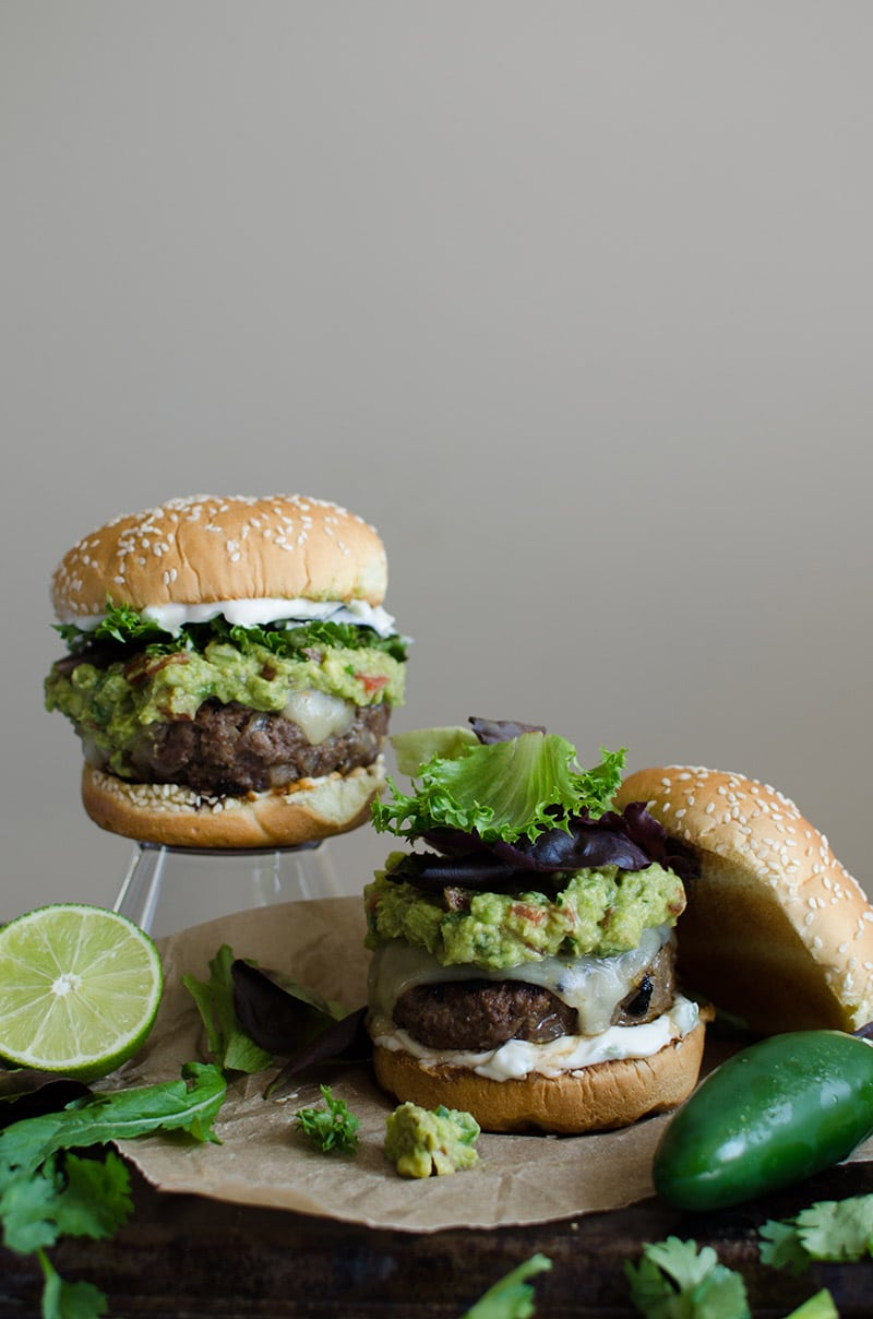 Spicy Guacamole Burger with Jalapeño Mayo from sprigandflours.com on foodiecrush.com
