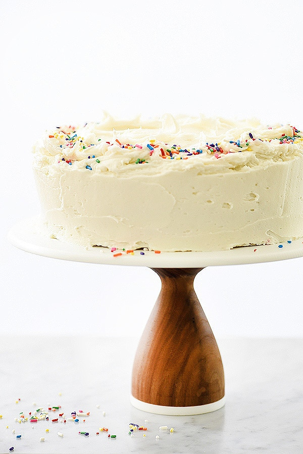 confetti cake recipe with homemade vanilla buttercream