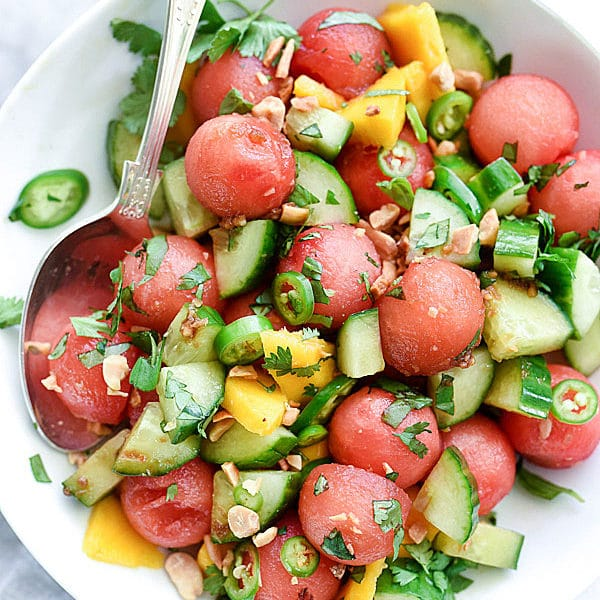 Cucumber Basil and Watermelon Salad | foodiecrush.com