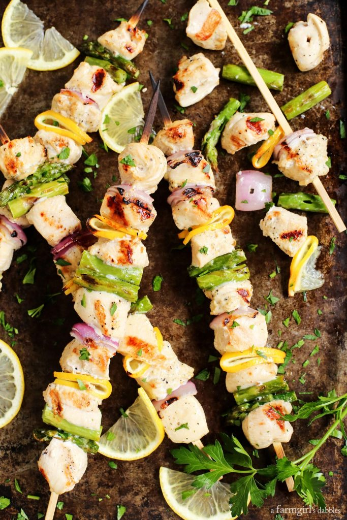 Grilled Lemon Pepper Chicken Kabobs from A Farm Girls Dabbles on foodiecrush.com