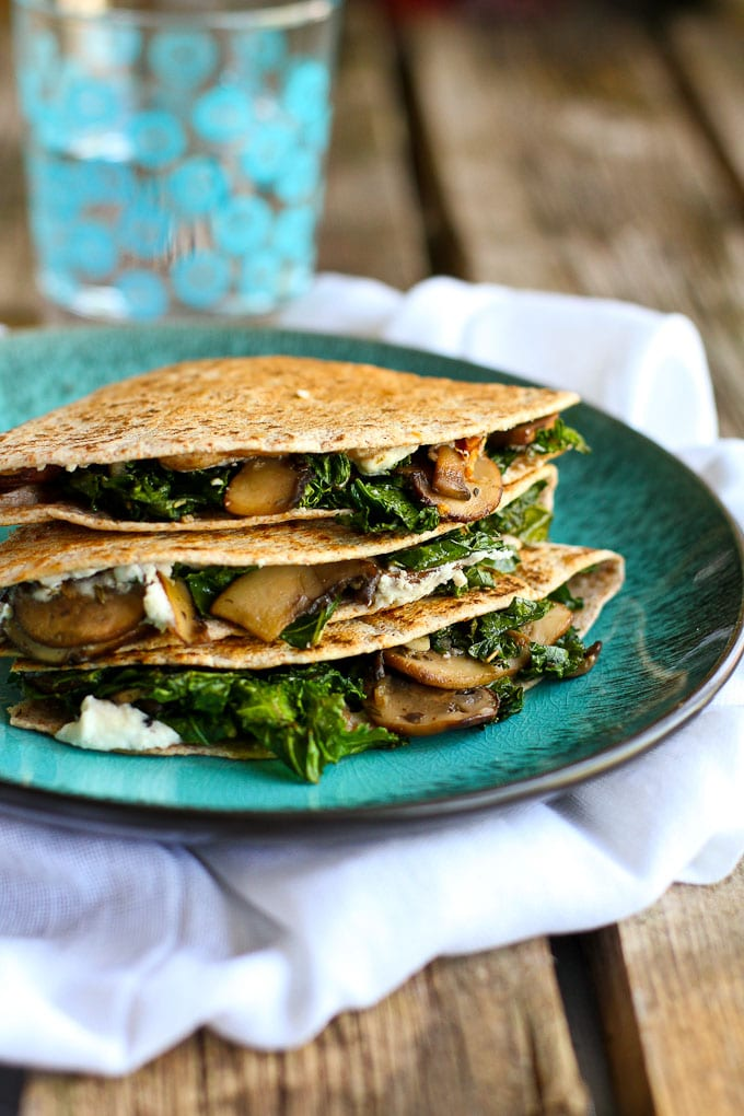 Kale, Mushroom & Goat Cheese Quesadillas from Cookin' Canuck on foodiecrush.com