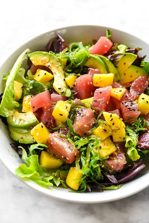 Ahi Tuna Poke Avocado and Mango Salad with a super simple 3 ingredient dressing | foodieccrush.com #salad #lunch #ahi