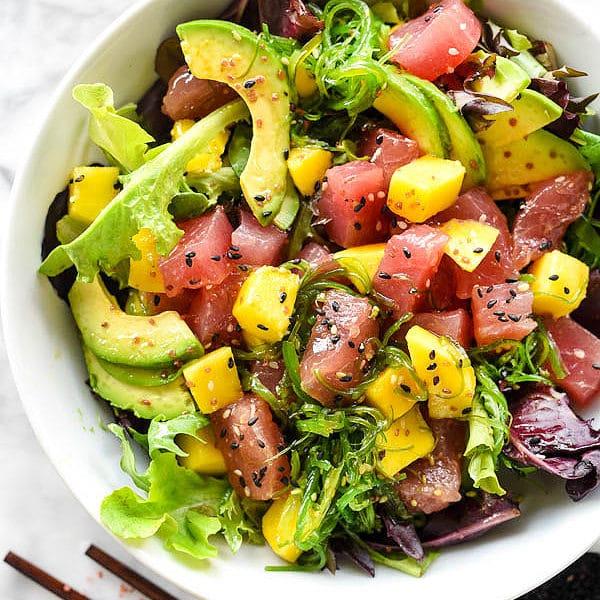 Ahi Tuna Poke Avocado and Mango Salad with a super simple 3 ingredient dressing   foodieccrush.com #salad #lunch #ahi