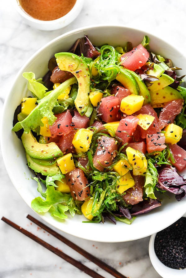 Poke Tuna And Mango Salad Foodieccrush Com Recipe Tuna Homemade