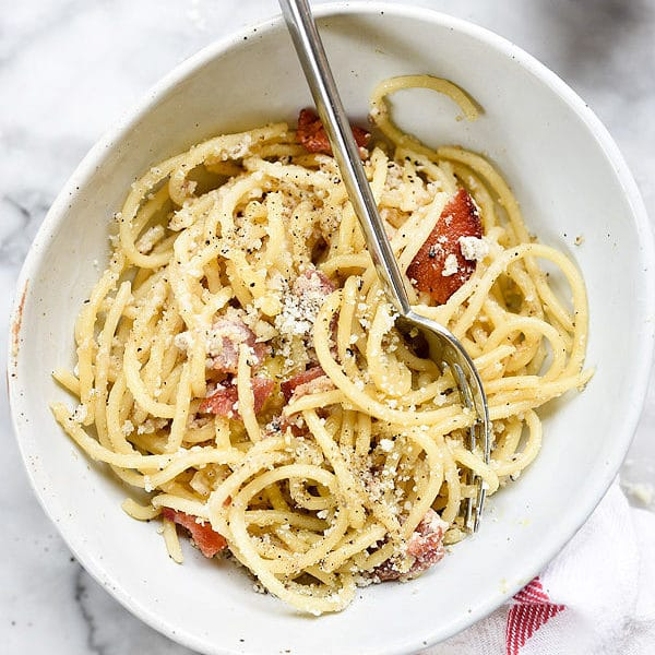 Spaghetti alla Carbonara recipe | foodiecrush.com