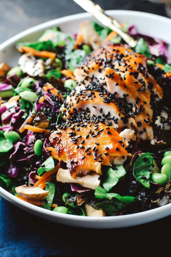 Asian Sesame Salad with Sriracha Salmon from For the Love of Basil on foodiecrush.com