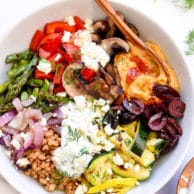Chopped Grilled Vegetable Bowl with Farro | foodiecrush.com