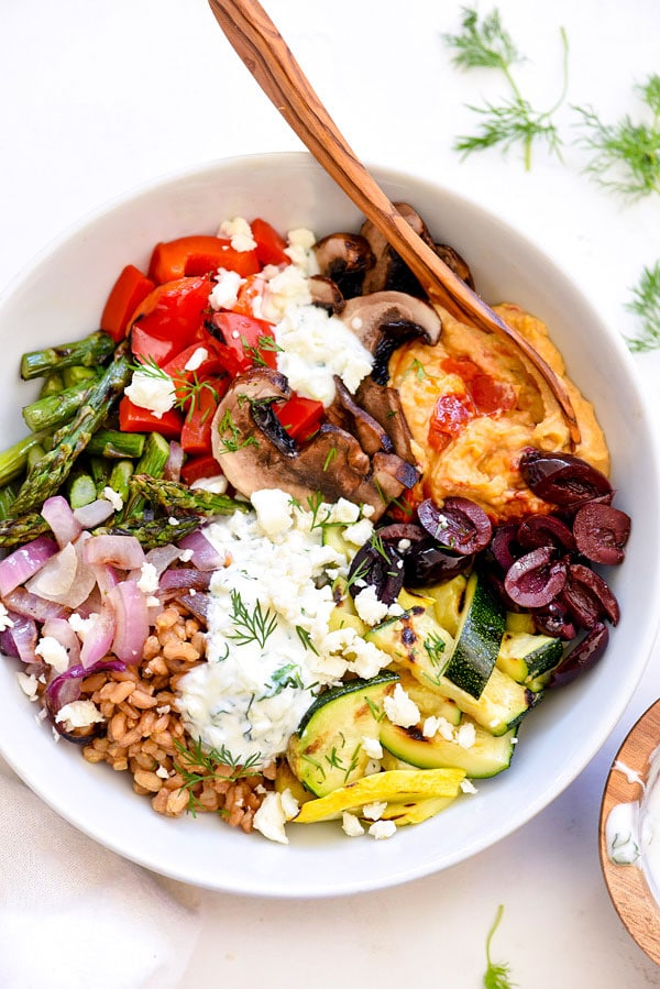 Chopped Grilled Vegetables with Farro Bowl | #recipe #healthy #veggies foodiecrush.com