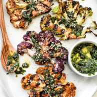Grilled Cauliflower Steaks with Asian Gremolata for a veggie spin on grilling steaks | foodiecrush.com
