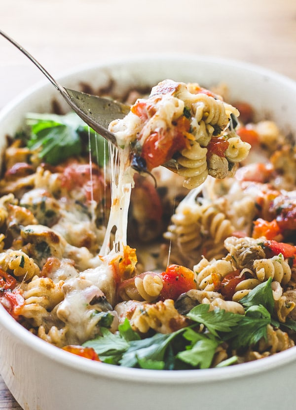 Mediterranean Chicken and Pasta Bake from The Clever Carrot   foodiecrush.com