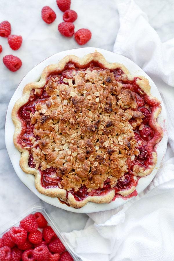Rhubarb and Raspberry Pie With Oatmeal Crumble | #recipe #easy #crumble #raspberry foodiecrush.com