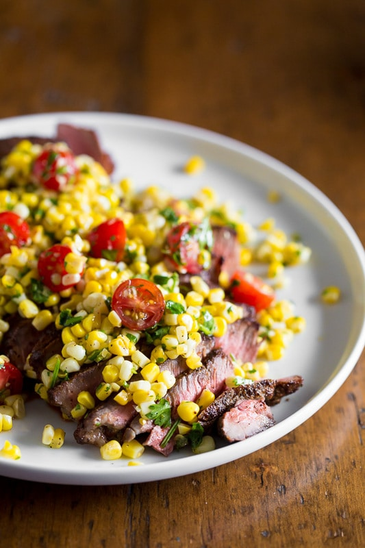 Grilled London Broil with Corn Salsa from Nutmeg Nanny on foodiecrush.com