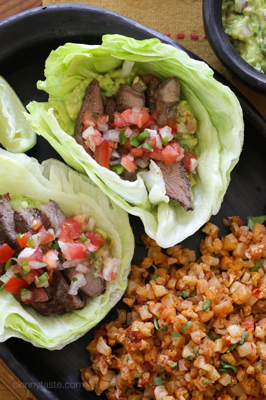 Grilled Steak Lettuce Tacos from Skinnytaste.com on foodiecrush.com