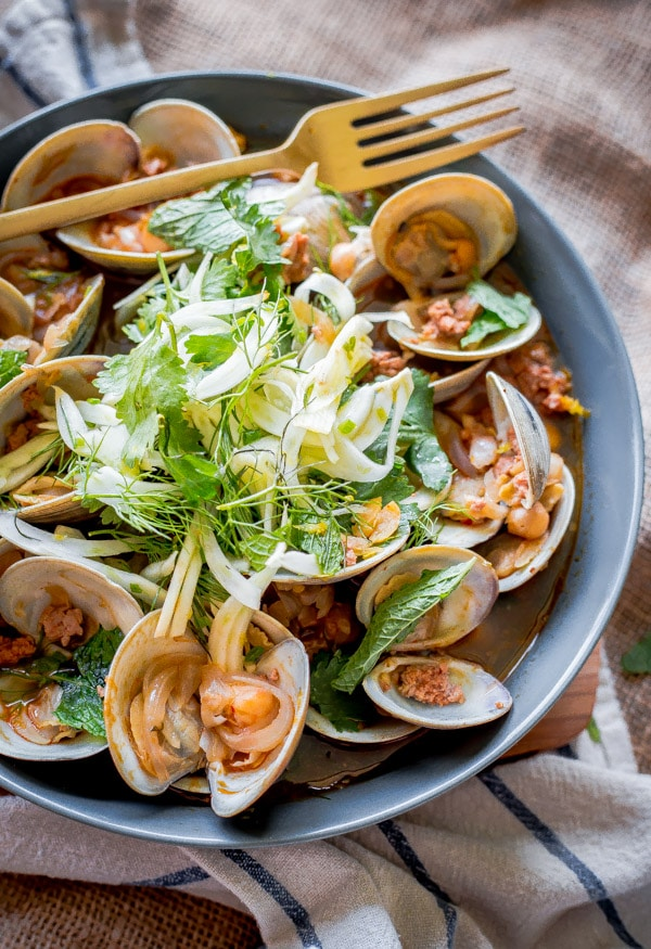 Negra Modela Steamed Clams with Chorizo and Shaved Fennel-Herb Salad from A Beautiful Plate on foodiecrush.com