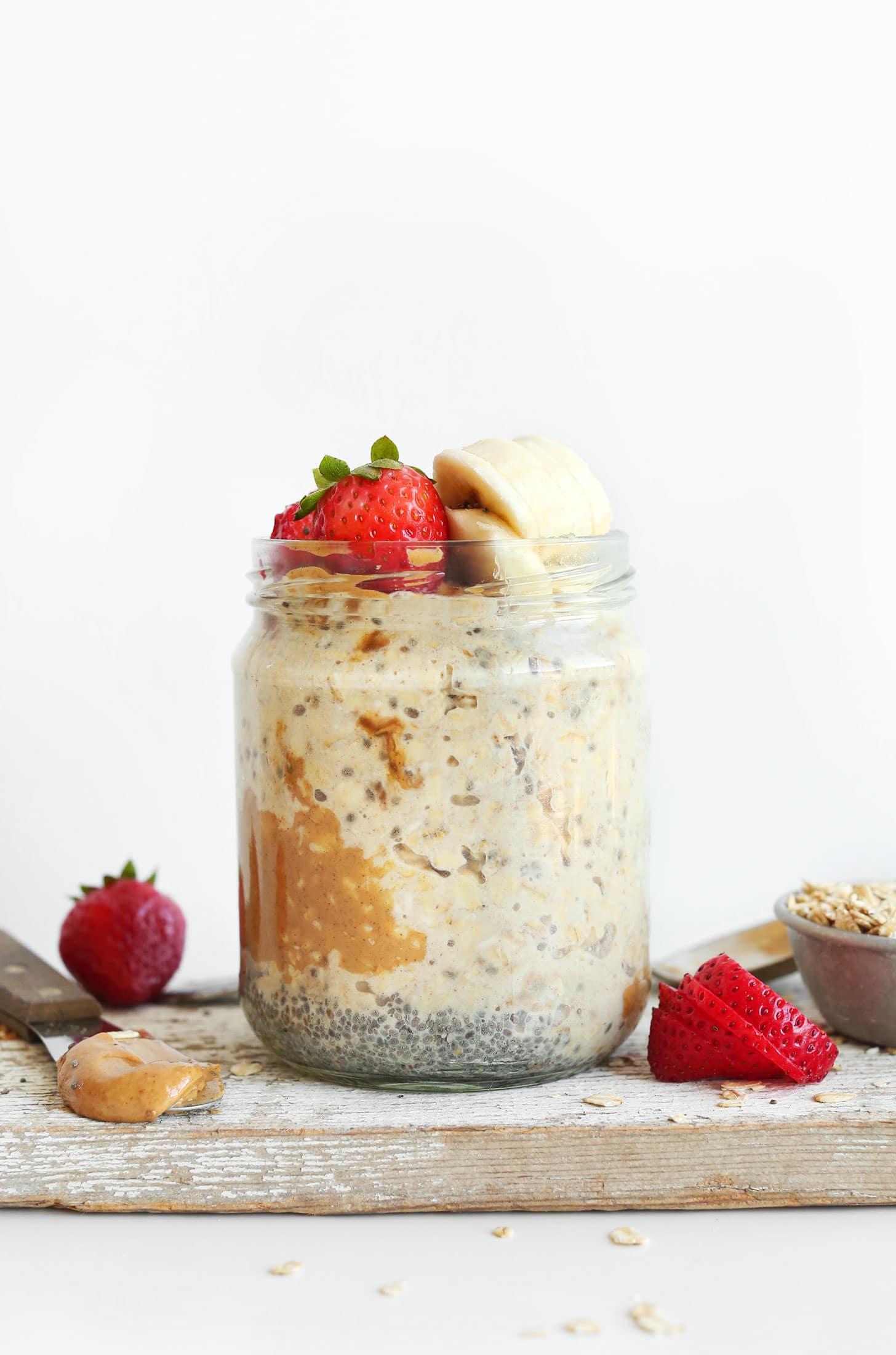 Peanut Butter Overnight Oats from minimalistbaker.com on foodiecrush.com