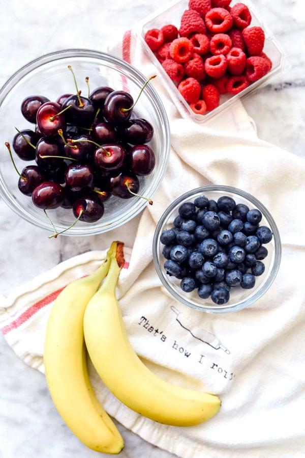 Berry Cherry and Banana Overnight Oats | foodiecrush.com