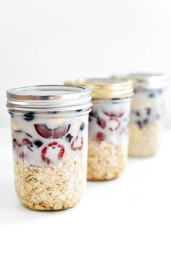 Berry Cherry and Banana Overnight Oats | foodiecrush.com