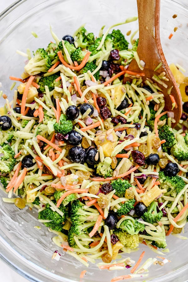 How to Make the Best Broccoli Salad | #healthy #recipe #easy #withraisins #withcranberries #dressing foodiecrush.com