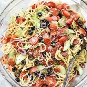 Easy Italian Spaghetti Pasta Salad | foodiecrush.com