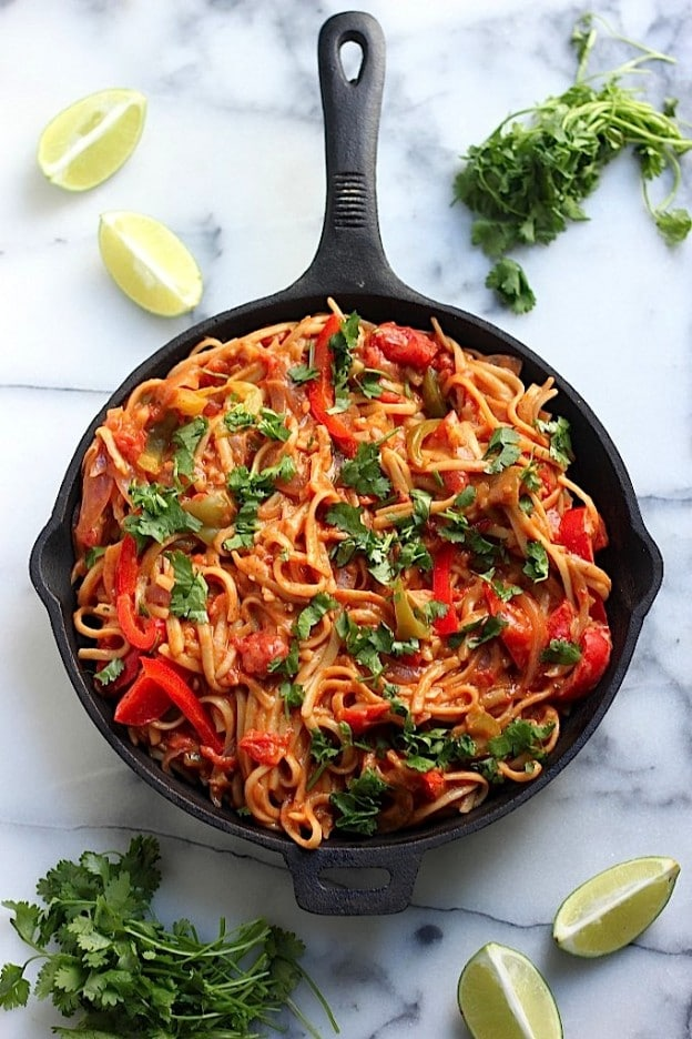 One Pan Veggie Fajita Pasta from Baker by Nature on foodiecrush.com