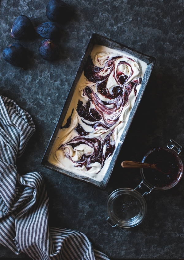 Bourbon Smoked Sugar Ice Cream with a Fig Swirl from bojongourmet.com on foodiecrush.com